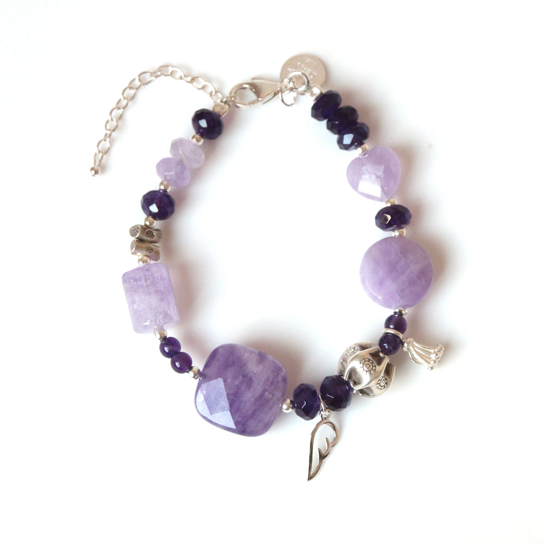 Purple Bracelet with Light and Dark Amethyst and Sterling Silver
