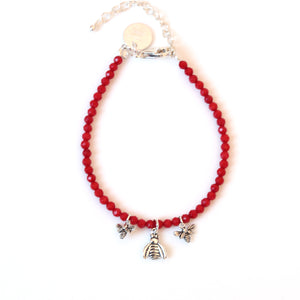 Red Facetted Coral bracelet with 3 Sterling Silver Bee Charms