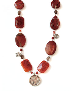 Australian Handmade Orange Necklace with Fire Agate Jasper Carnelian and Sterling Silver Pendants
