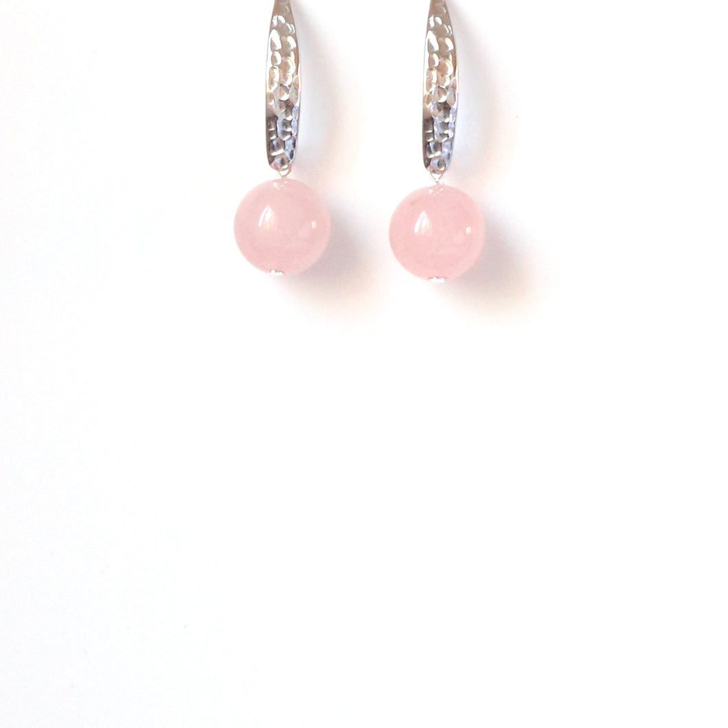 Pink Rose Quartz and Sterling Silver Earrings