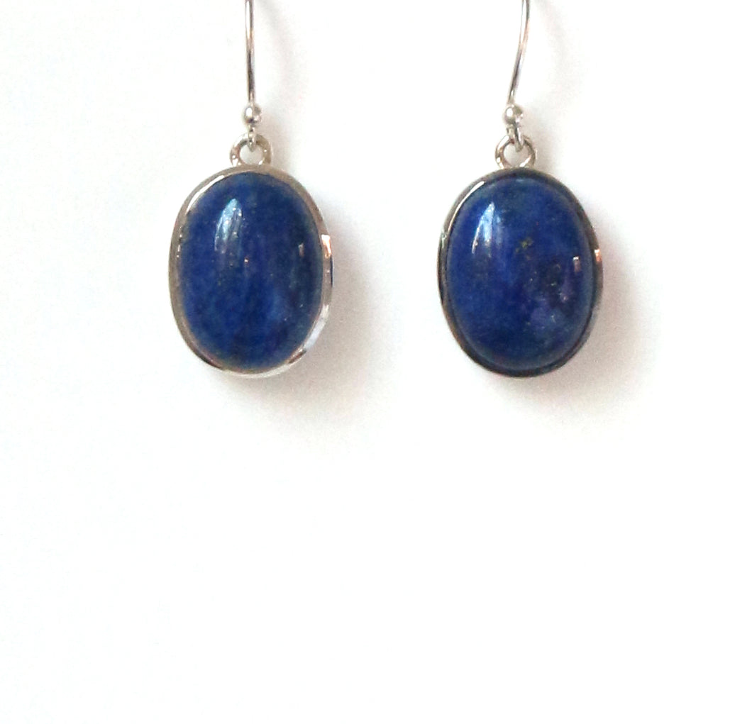 Blue Oval Lapis Earrings Set in Sterling Silver