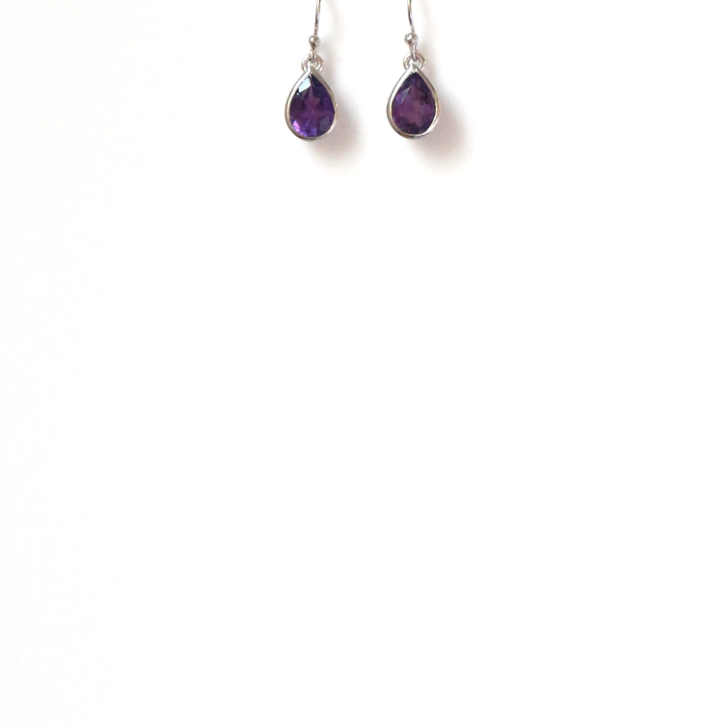Purple Amethyst Teardrop Earrings Set in Sterling Silver