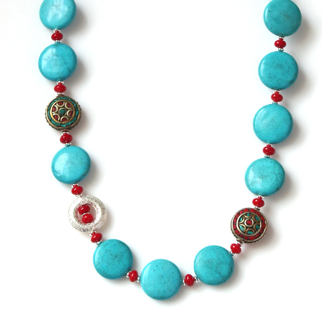 Australian Handmade Turquoise Colour Necklace with Howlite Coral Nepalese Beads and Sterling Silver