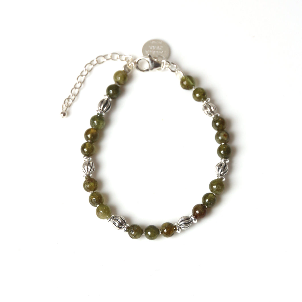 Green Bracelet with Green Garnet and Sterling Silver