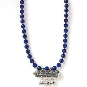 Australian Handmade Blue Lapis Lazuli Necklace with Old Afghani Sterling Silver Centrepiece