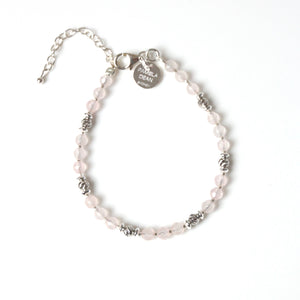 Pink Bracelet with Rose Quartz and Sterling Silver