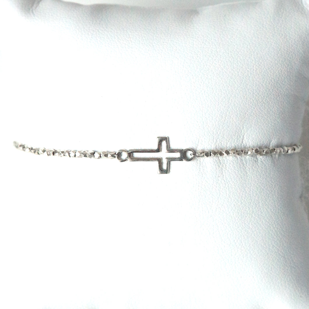 Sterling Silver Bracelet with Open Cross