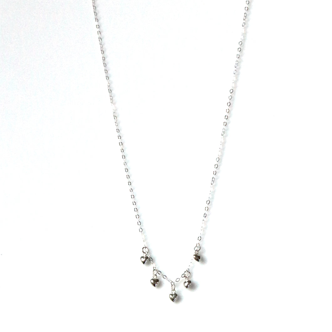 Sterling Silver Necklace with Mini Hearts