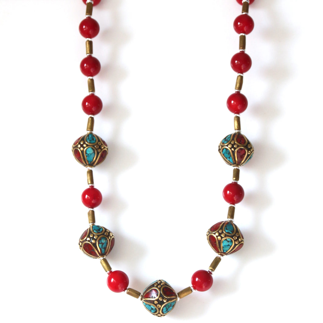 Australian Handmade Red Necklace with Coral Brass Nepalese Beads and Sterling Silver