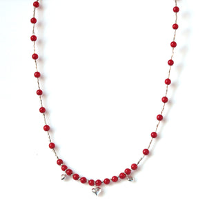 Australian Handmade Red Necklace with Coral and Sterling Silver