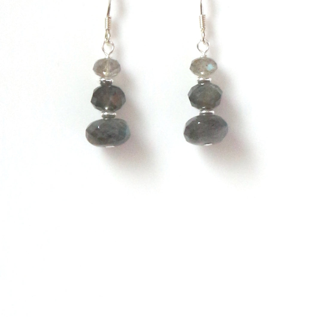 Grey Earrings with Labradorite and Sterling Silver