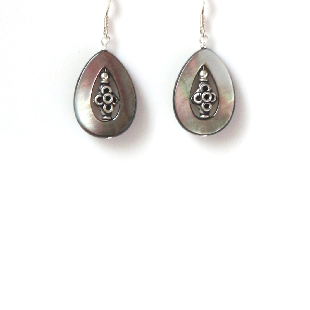 Grey Earrings with Mother of Pearl and Sterling Silver