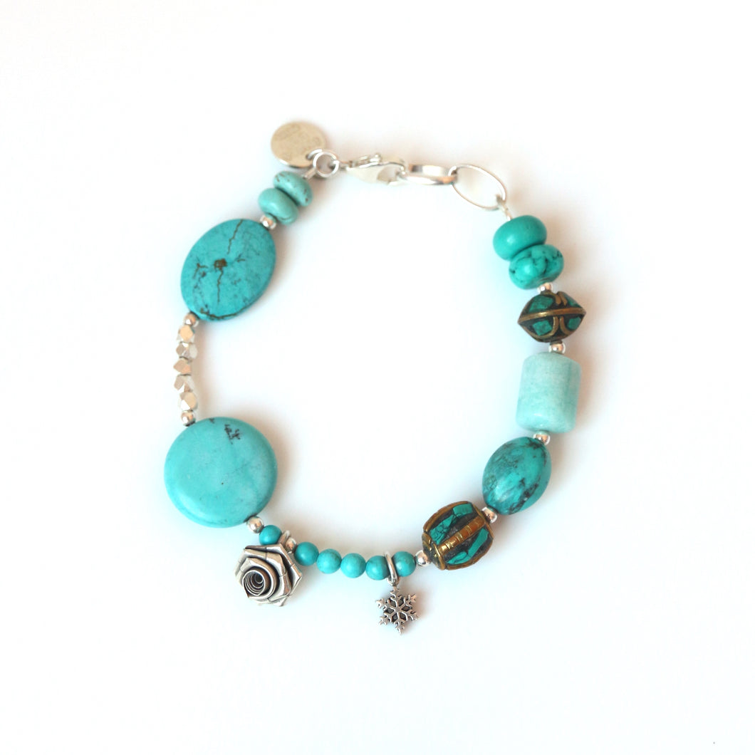 Turquoise Colour Bracelet with Gemstones Nepalese Beads and Sterling Silver