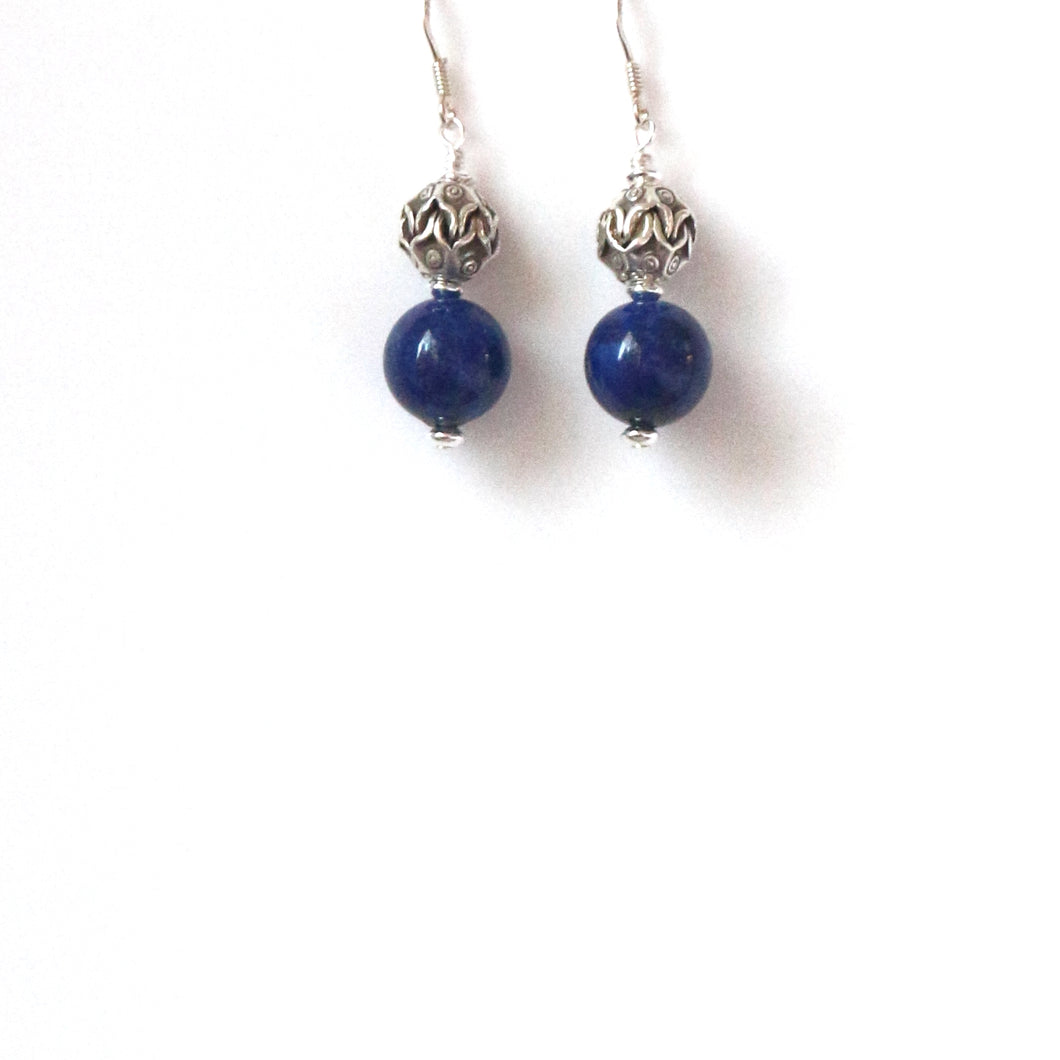Blue Earrings with lapis Lazuli and Decorative Sterling Silver Bead