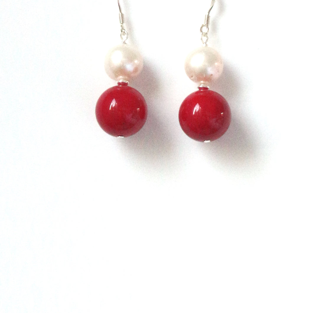 Red Coral Pearl and Sterling Silver Earrings