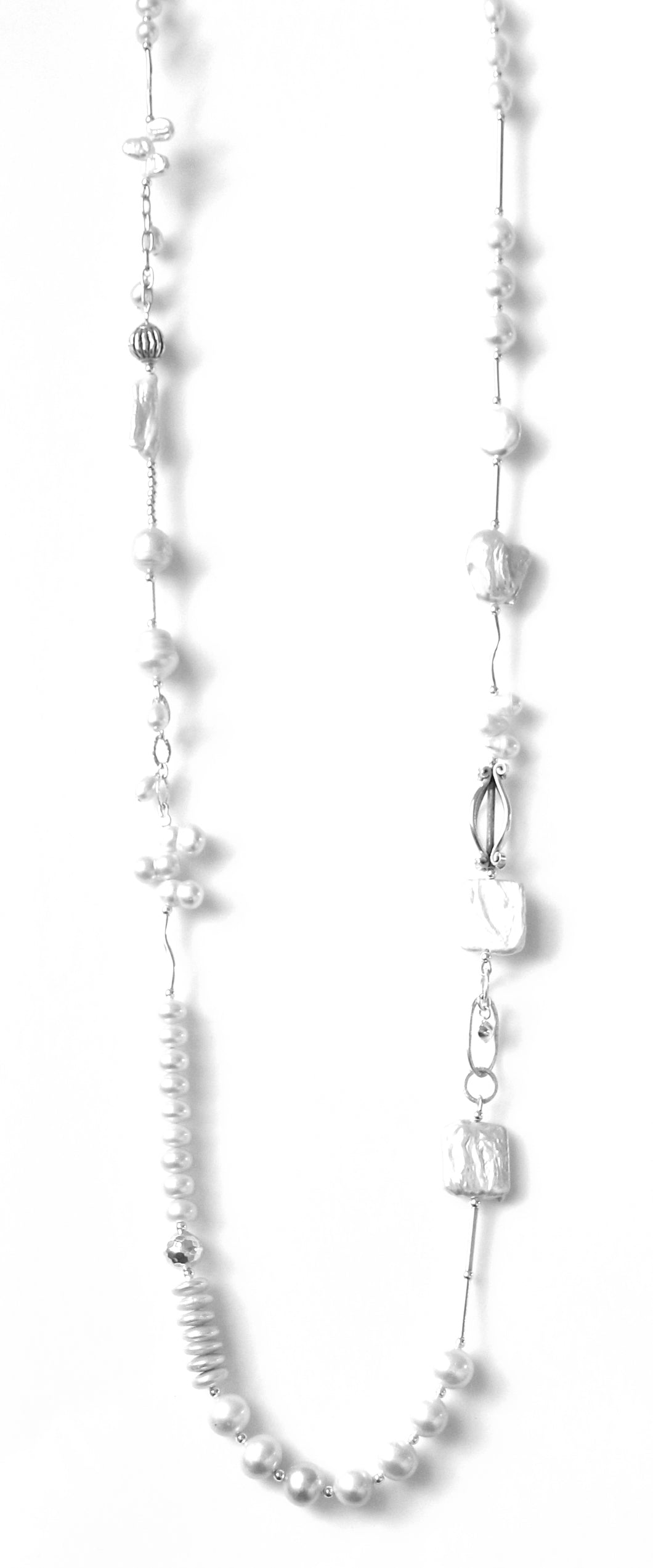 Australian Handmade White Pearl Necklace with Variegated Shaped Pearls and Sterling Silver