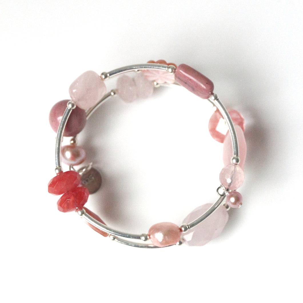 Pink Wind On Bracelet with Sterling Silver Rose Quartz Pearls Mother of Pearl Rhodonite and Cherry Quartz