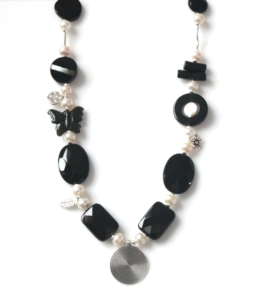 Australian Handmade Black Necklace with Onyx Obsidian Natural Black Coral Pearls and Sterling Silver