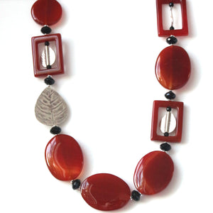 Australian Handmade Orange Necklace with Agate Onyx and Sterling Silver