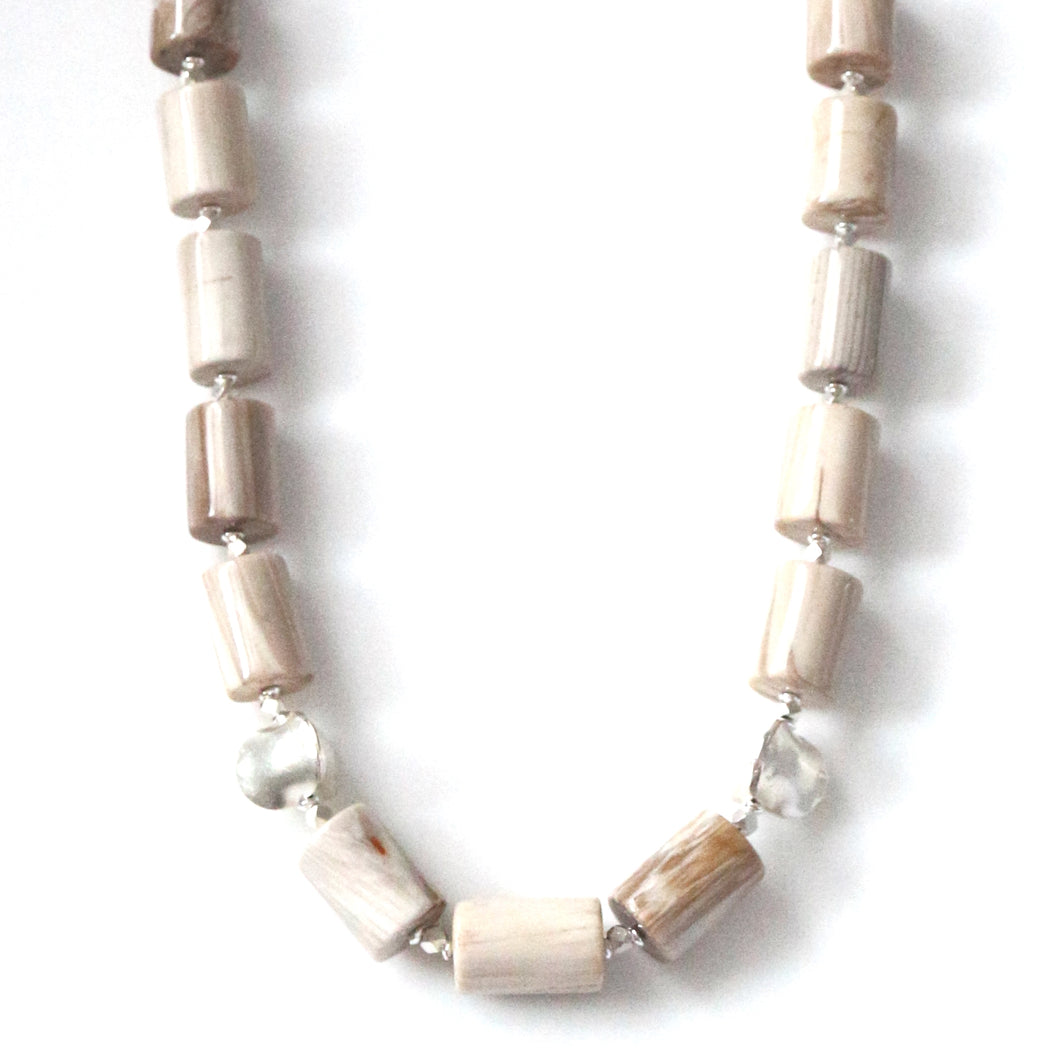 Australian Handmade White Necklace with Wood Opalite and Sterling Silver