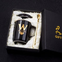 Load image into Gallery viewer, 400ml Gold Black Ceramic Coffee Mug - New Roasters