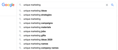 google searches for marketing strategies and unique techniques