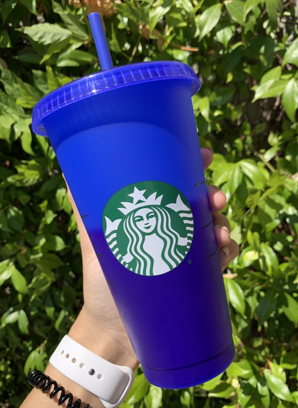 Blue/Dark Blue Color Changing Vinyl Cup