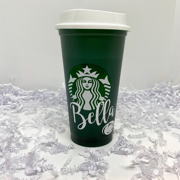 Front Name Custom Green Color Changing Hot Cup