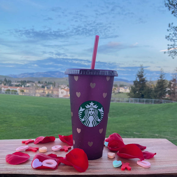 Rose Gold Hearts and Purple Sparkles Cup
