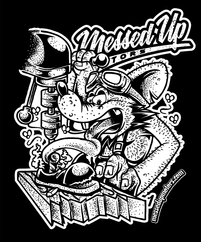 Drill Press Rat Shirt (White) - Messed Up Motors