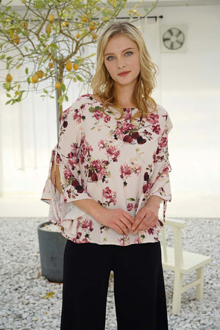 FV Flowered Print Top with Lace Bell Sleeves