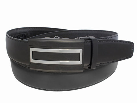 Ratchet Belt with Black Rectangle Two Tone Buckle