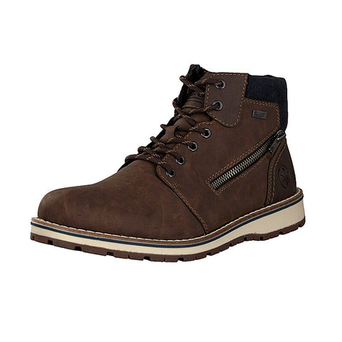 Rieker Mens 38441-25 Lace Up Boot-Brown/Navy