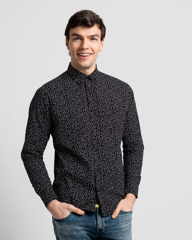 Squiggles Button Down Long Sleeve Shirt