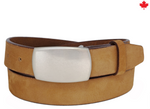 Classic Italian Nubuk Leather Belt with Antique Finish Plaque Buckle