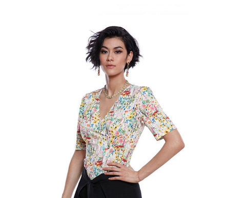 Luc Fontaine SIBELLE Floral Print Top