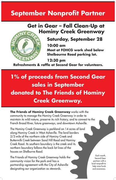 Friends of Hominy Creek Greenway River Clean Up, Saturday, September 28