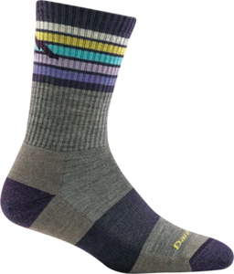 Darn Tough Merino Micro Crew Socks, Stripes, Taupe, Womens L / Style 1968