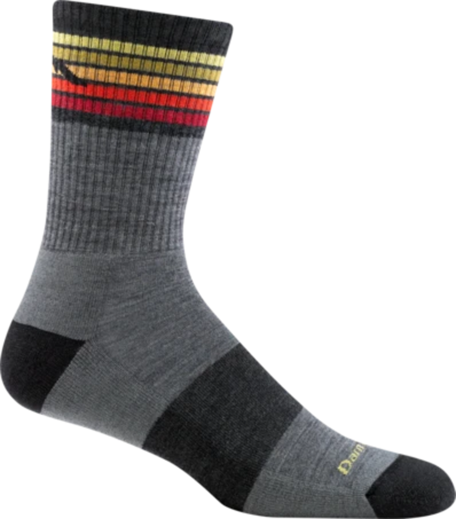 Darn Tough Merino Micro Crew Socks, Stripes, Gray, Mens L / Style 1973