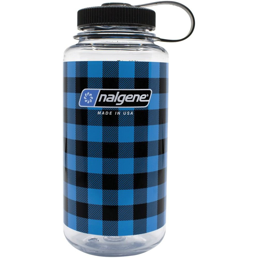 Nalgene Wide Mouth Bottle, Blue Plaid, 32oz