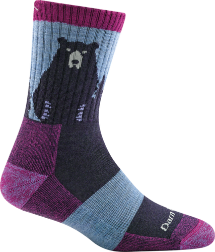 Darn Tough Merino Micro Crew Socks, Purple Bear, Woman's L / Style 1970