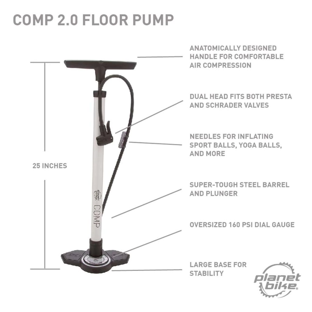 Planet Bike Comp 2.0 Floor Pump w/ Gauge