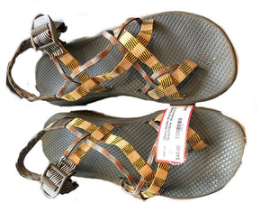 Chaco Double-Strap Sandals, Grey/Yellow, Womens Sz 10