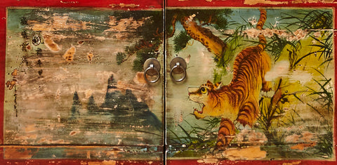 Vintage Painted Cabinet from Gansu China detail of door panel