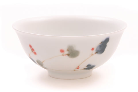 Contemporary Ceramic Bowl with Floral Motif from Jingdezhen China
