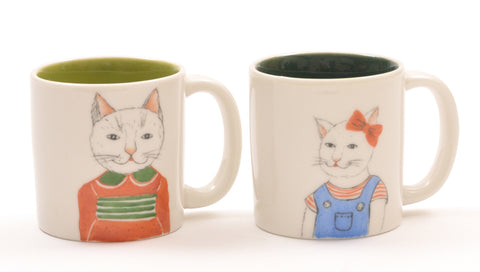 Contemporary Chinese Ceramic Mugs with Cat Motif