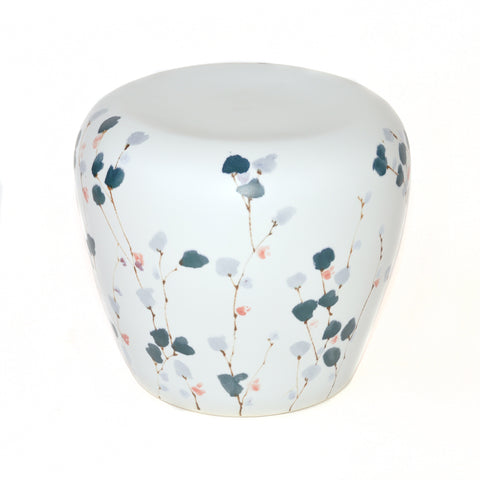 Contemporary Ceramic Stool with Floral Motif from Jingdezhen China