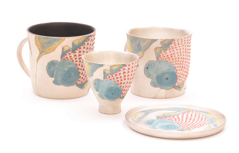Contemporary Ukiyo-e Carp inspired Ceramic Tableware with silver from Jingdezhen China