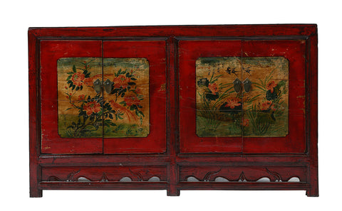 Vintage Chinese Flower and Bird Cabinet from Gansu