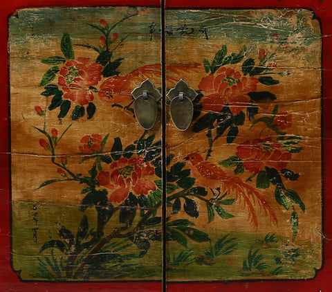 Vintage Painted Cabinet from Gansu China detail of left door panel